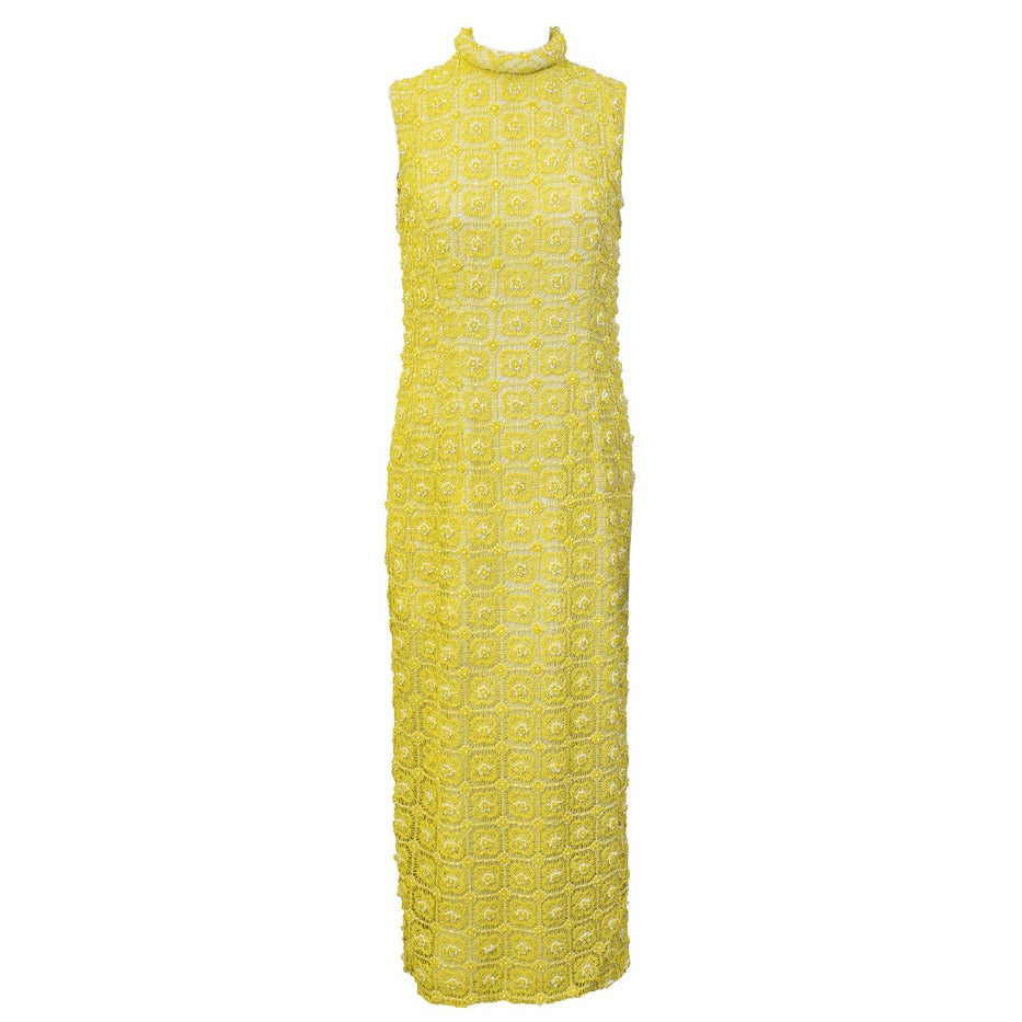 1960s Marty Modell Yellow Crochet & Beaded Evening Gown and Jacket