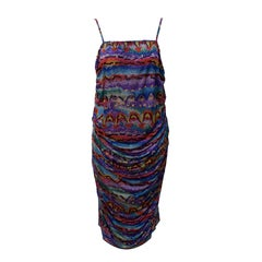 Early 1980s Missoni Multi-Colored Printed Ruched Dress