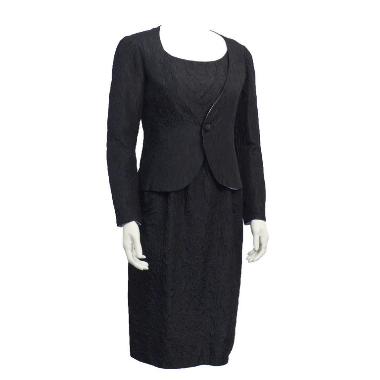 1960s Nina Ricci Black Cloque Silk Ensemble For Sale