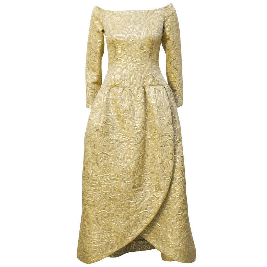 1980s Arnold Scaasi Gold Brocade Gown