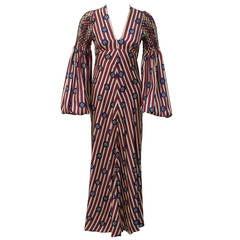 1970s Thea Porter Bohemian Brit Silk Long Dress