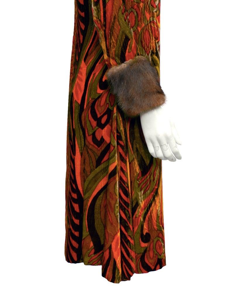 Brown Teal Traina Orange Printed Velvet Dress with Mink Cuffs Circa 1960 For Sale