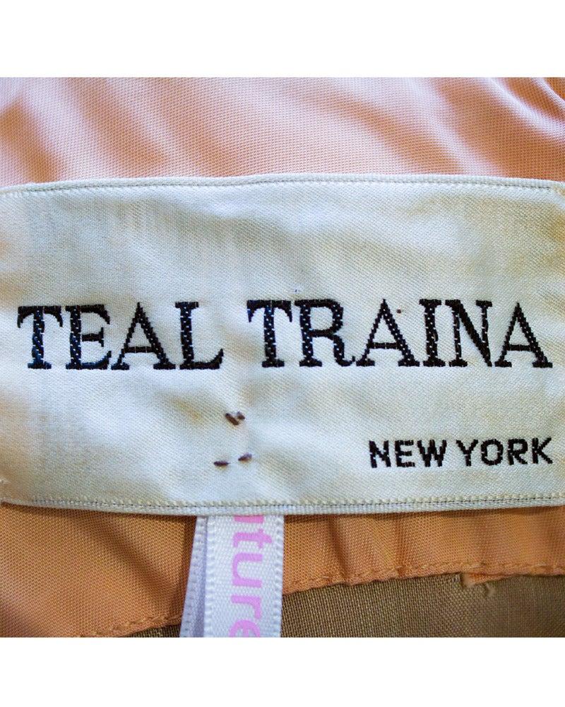 Women's Teal Traina Orange Printed Velvet Dress with Mink Cuffs Circa 1960 For Sale