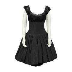 Mignon Black Silk Dress with Lace Bodice Circa 1960's