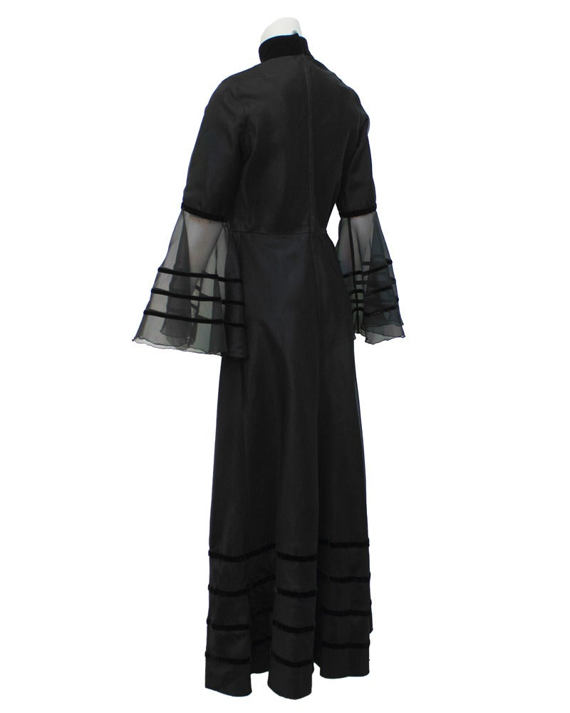 Annacat Black Satin Gown with Sheer Bell Sleeves Circa 1960's 3