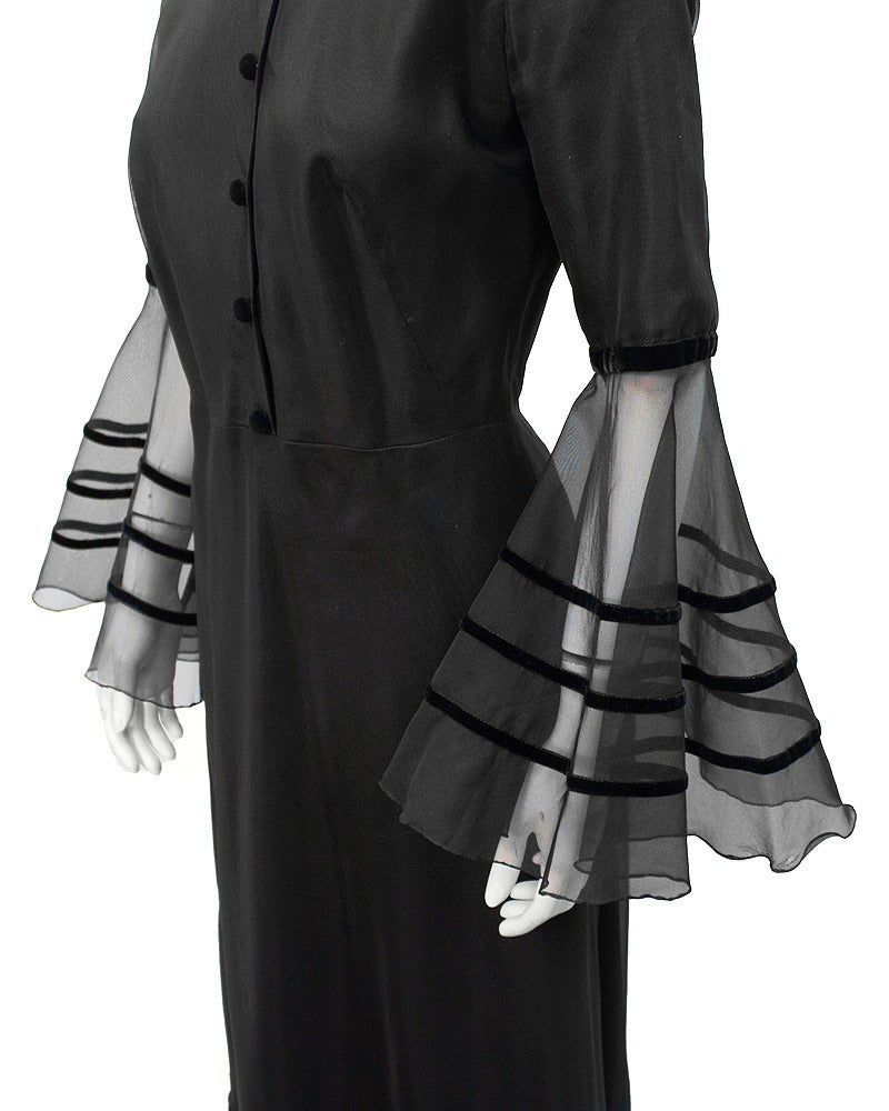 Annacat Black Satin Gown with Sheer Bell Sleeves Circa 1960's 4