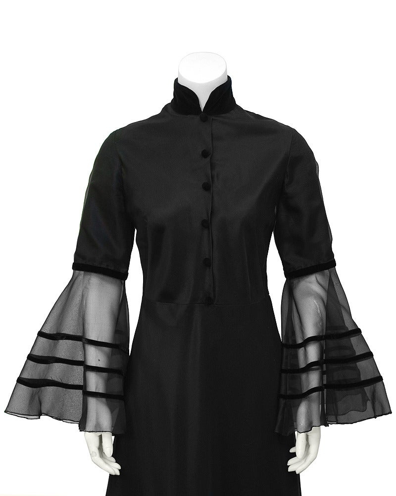 Annacat Black Satin Gown with Sheer Bell Sleeves Circa 1960's For Sale 1