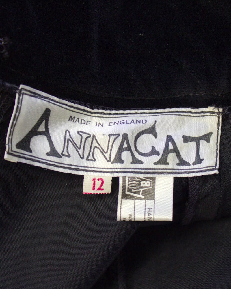 Annacat Black Satin Gown with Sheer Bell Sleeves Circa 1960's For Sale 2