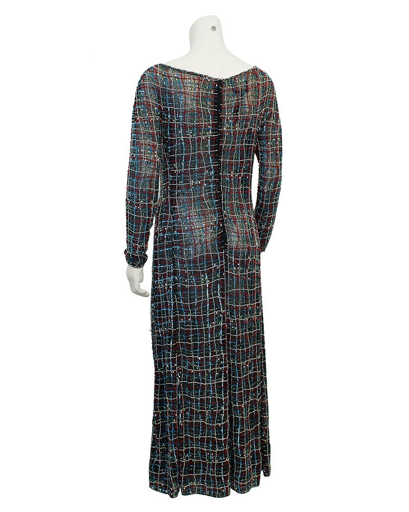 1990s Giorgio Armani Black Net Beaded Gown For Sale at 1stdibs