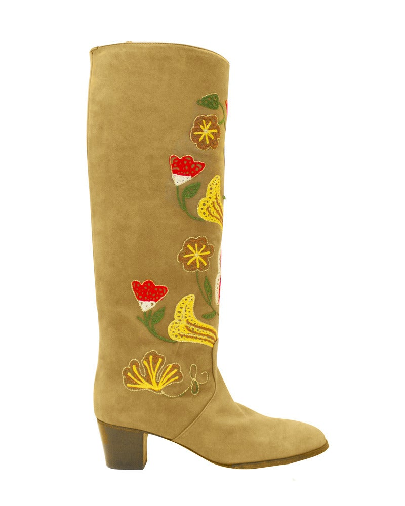 1970s Tan Suede Floral Embroidered Boots 2