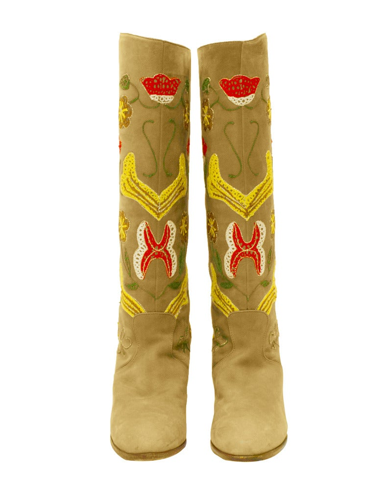 1970s Tan Suede Floral Embroidered Boots 3