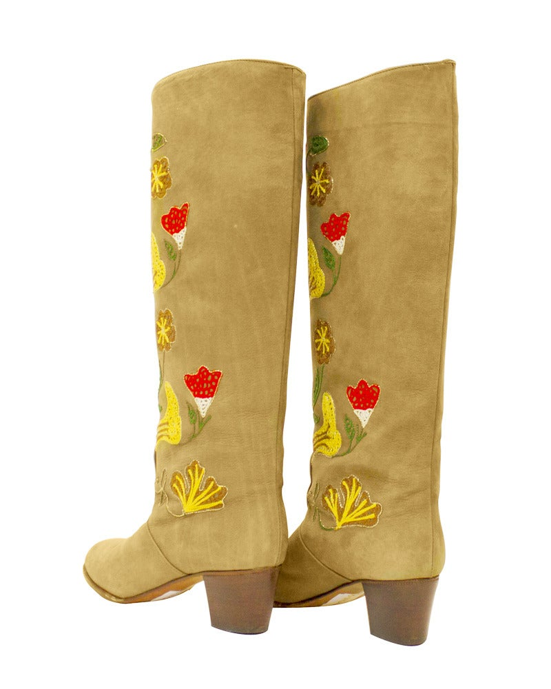 1970s Tan Suede Floral Embroidered Boots 4