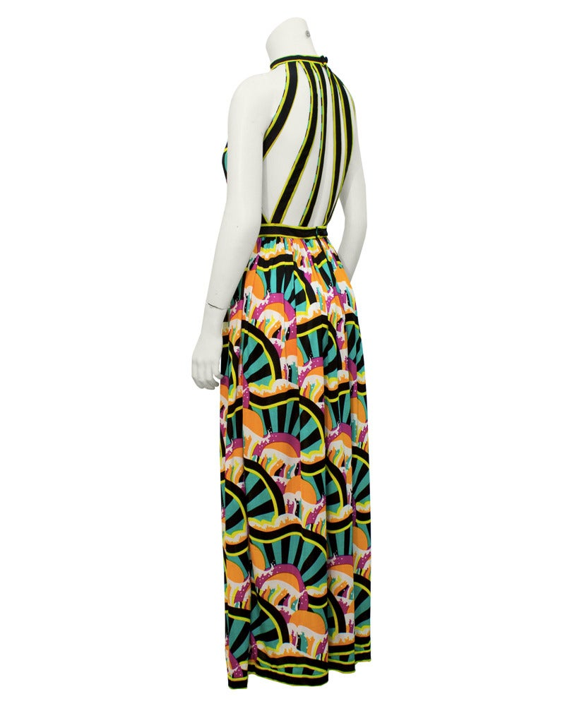 1970s Donald Brooks Graphic Halter Gown 2