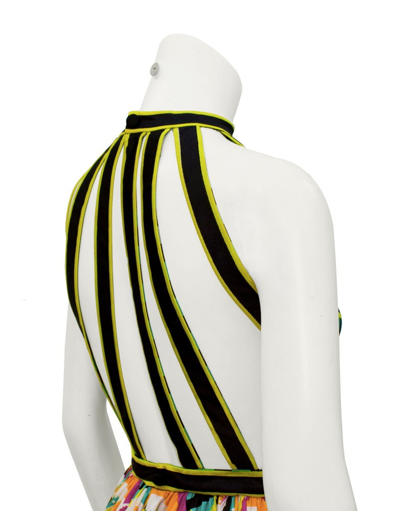 1970s Donald Brooks Graphic Halter Gown 4