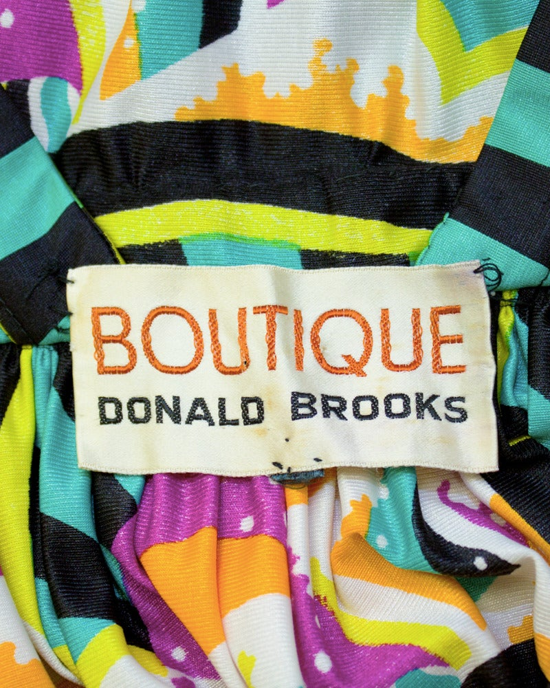 1970s Donald Brooks Graphic Halter Gown 5