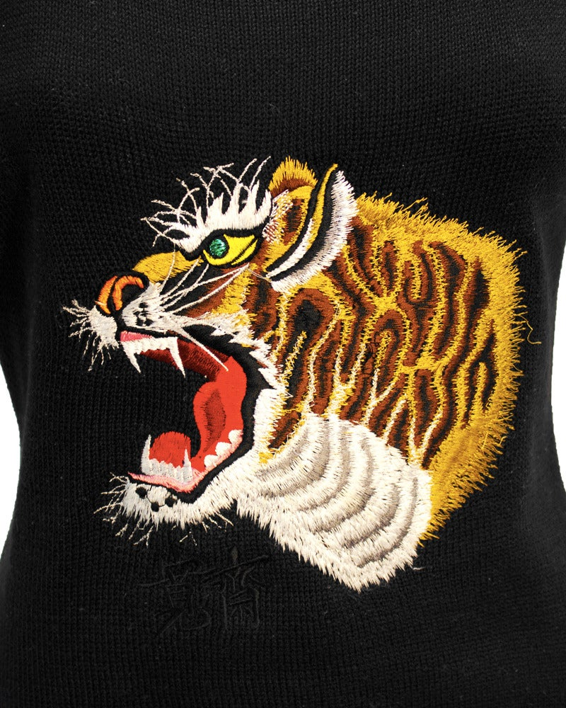 1980s Kansai Yamamoto Black Short Sleeve Sweater with Tiger Motif For Sale 1