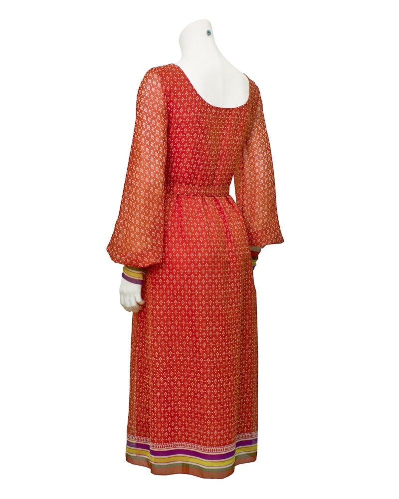 1970s Lavin Red Printed Dress with Belt 2