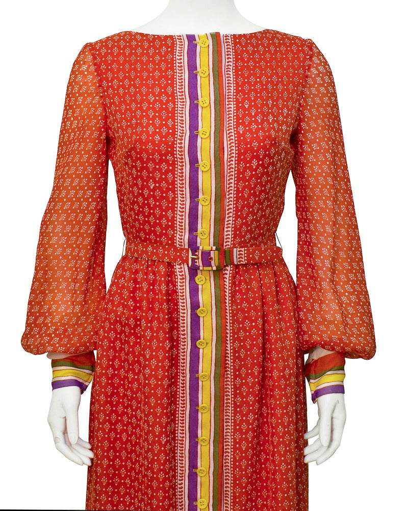 1970s Lavin Red Printed Dress with Belt 3