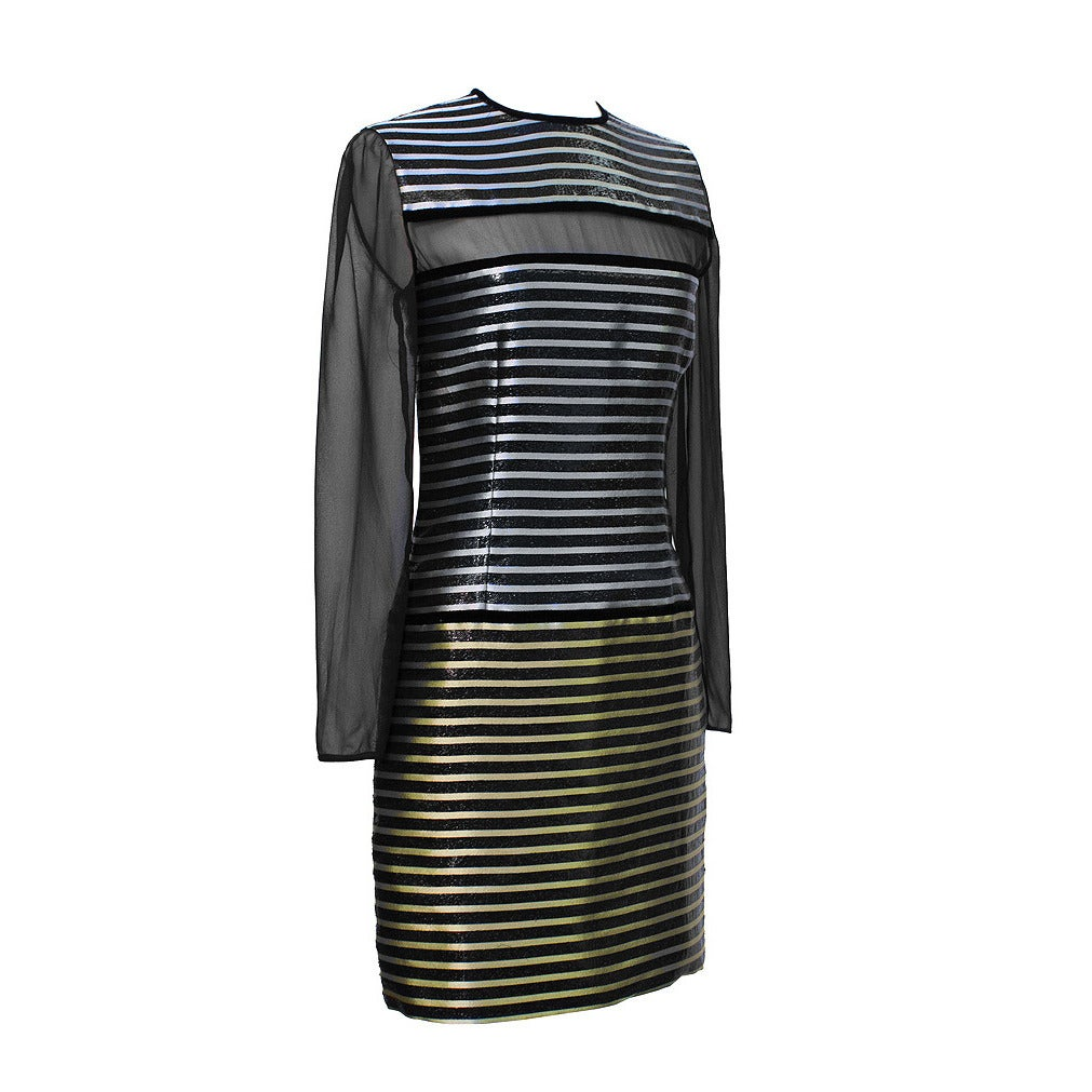 Galanos Metallic Stripe Dress with Sheer Panels Circa 1980's For Sale
