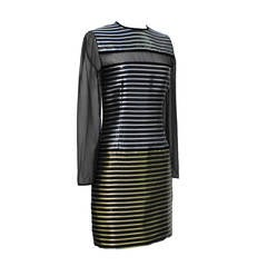Galanos Metallic Stripe Dress with Sheer Panels Circa 1980's