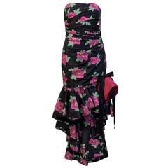 Ungaro Black Strapless Floral Gown Circa 1980's