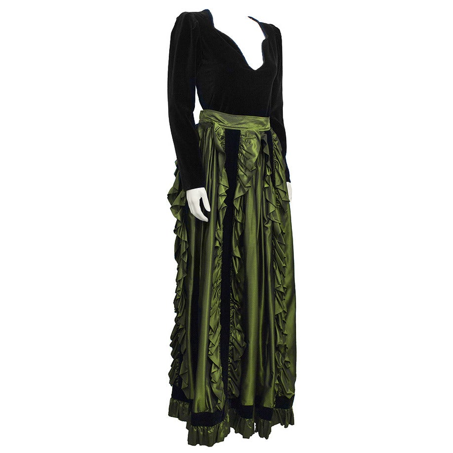 1980's Yves Saint Laurent YSL Black Velvet Top & Green Taffeta Skirt