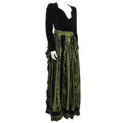 1980's Yves Saint Laurent YSL Black Velvet Top & Green Taffeta Skirt