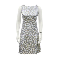 Malcolm Charles Silver Brocade Drop Waist Dress Circa 1970