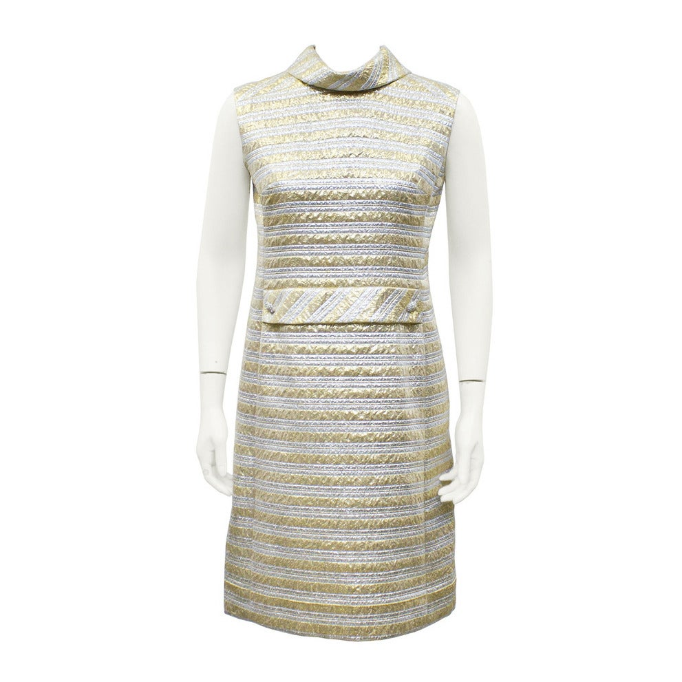 Pat Sandler Silver & Gold Brocade Cocktail Dress Circa 1960's 1