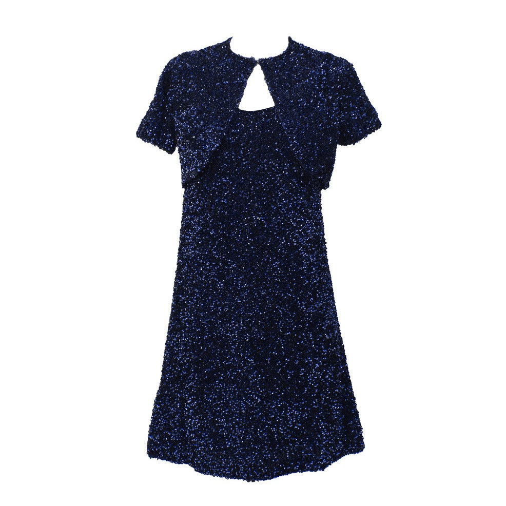 bc6168b9b70b Jacques Griffe Navy Blue Sequin Mini Dress and Bolero Circa 1960 For ...