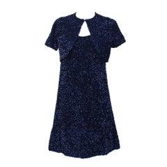 Jacques Griffe Navy Blue Sequin Mini Dress & Bolero Circa 1960