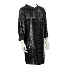 Matty Talmack Black Sequin Dress Circa 1960