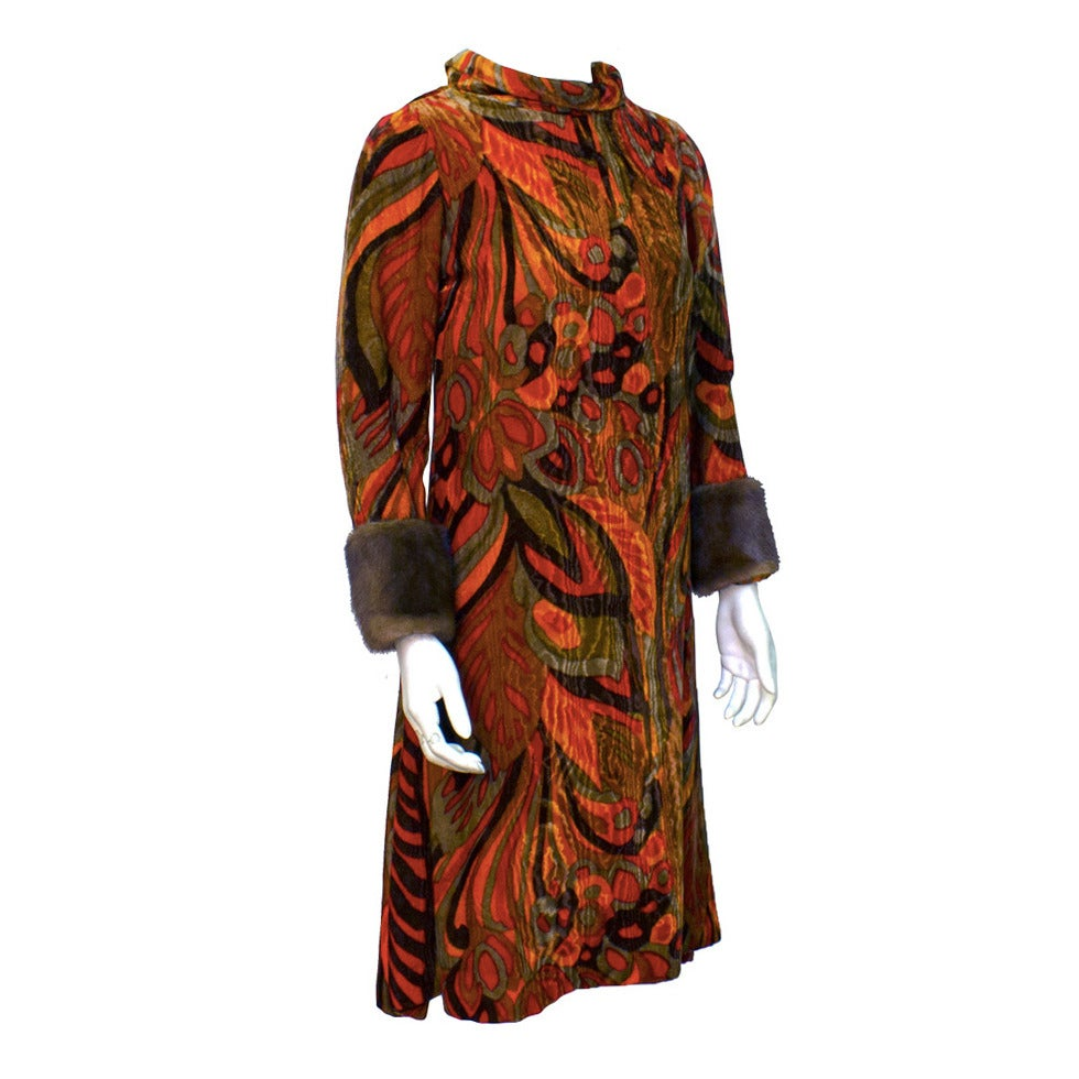 Teal Traina Orange Printed Velvet Dress with Mink Cuffs Circa 1960 For Sale