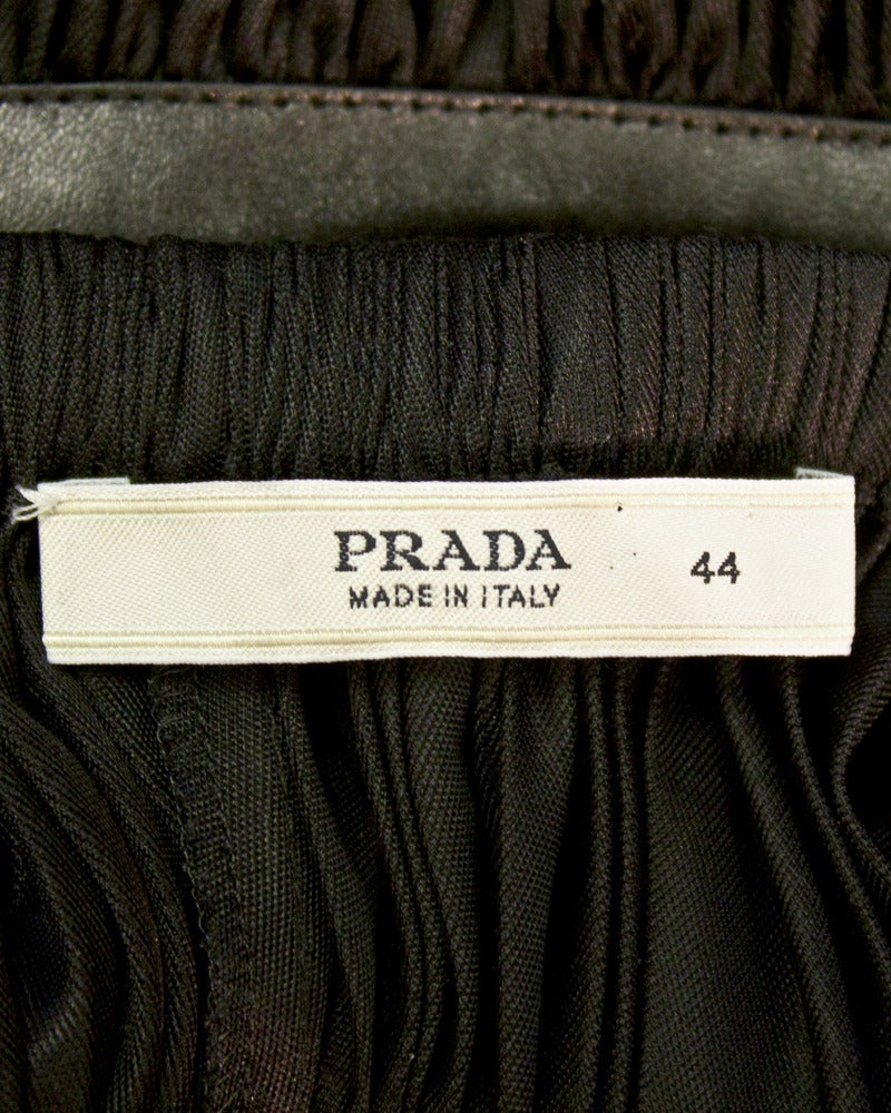 2002 Prada Black Grecian Gathered Dress with Leather Accents 5