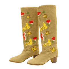 1970s Tan Suede Floral Embroidered Boots