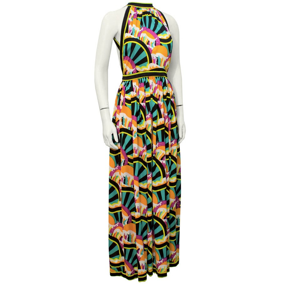 1970s Donald Brooks Graphic Halter Gown