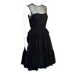 1960s Holt Renfrew Black Lace Dress