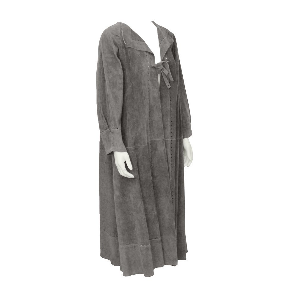 Jean Muir Grey Suede Duster Maxi Coat Circa 1970's