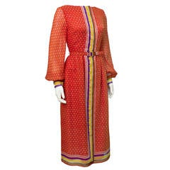 1970s Lavin Red Printed Dress with Belt