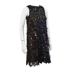 1960s Pat Sandler Black Paillettes Swing Dress
