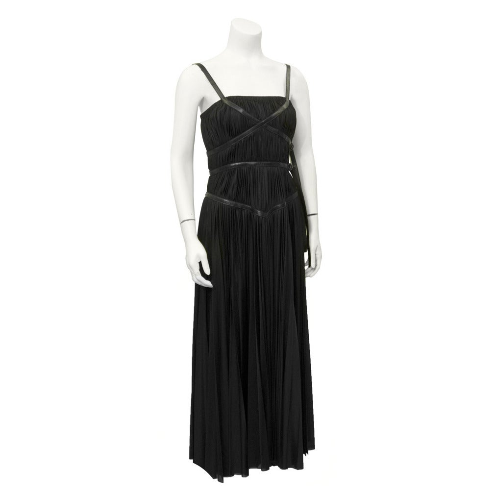 2002 Prada Black Grecian Gathered Dress with Leather Accents