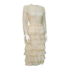 Zandra Rhodes Cream Printed Tiered Dress Circa 1978