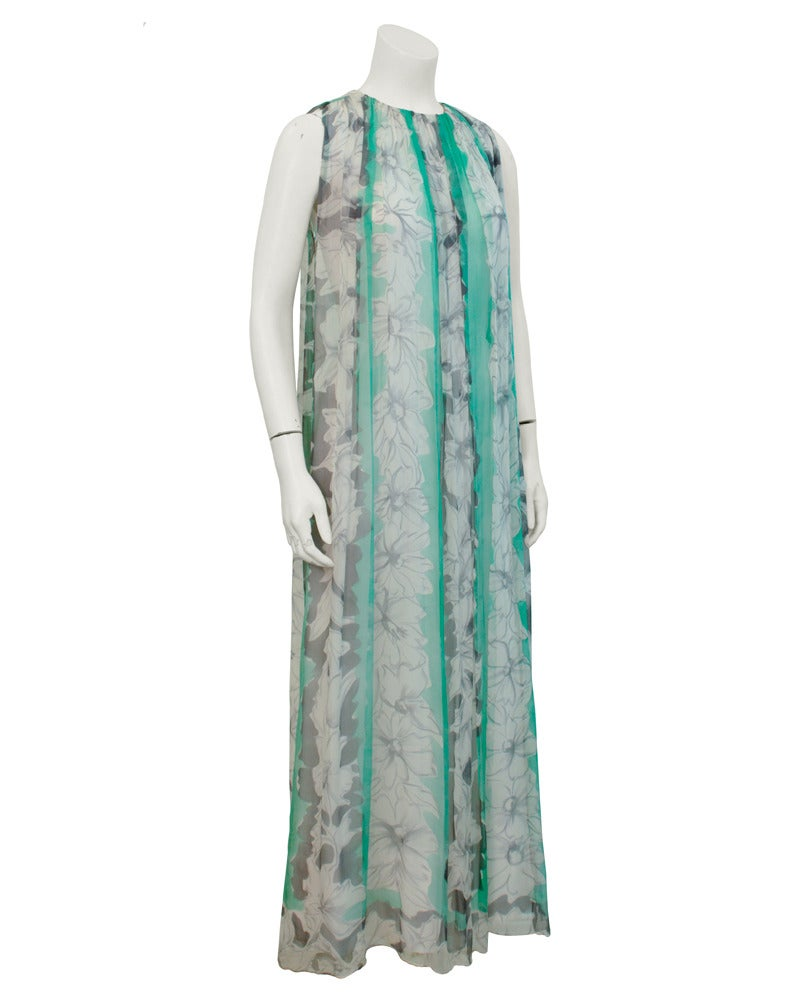 Gray 1960s Pauline Trigere Turquoise and Grey Chiffon Gown For Sale