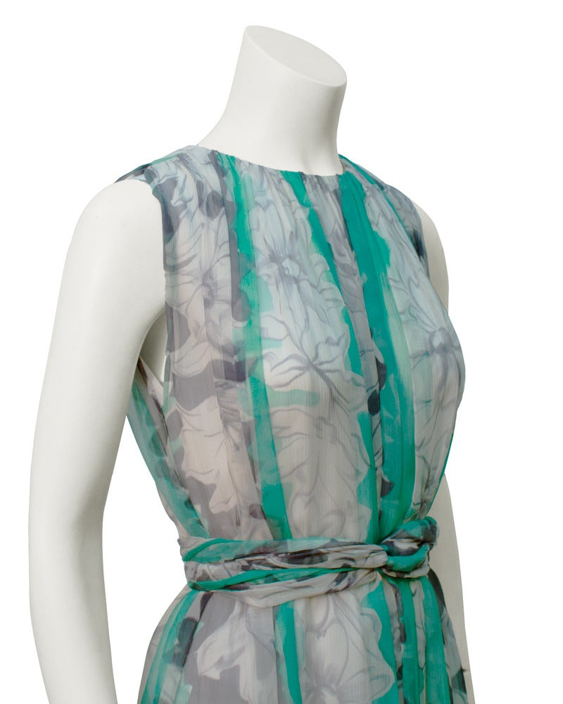 1960s Pauline Trigere Turquoise and Grey Chiffon Gown In Excellent Condition For Sale In Toronto, Ontario