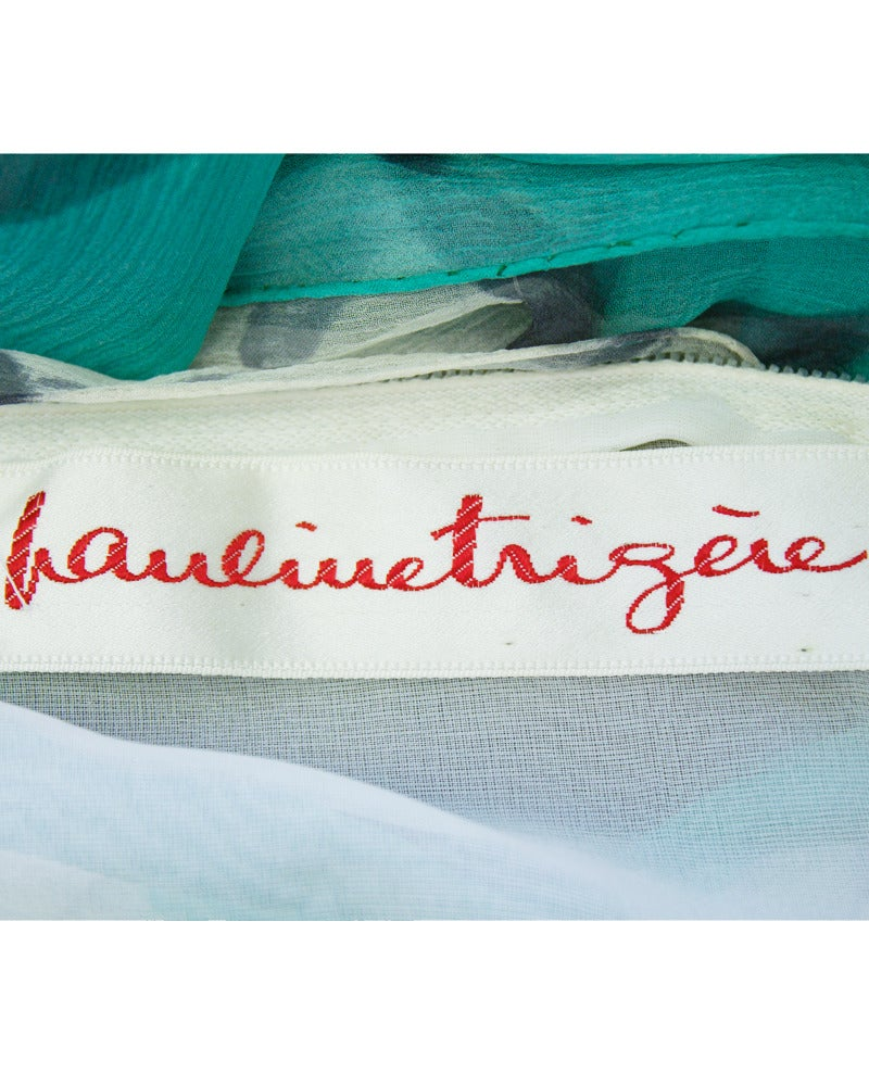 Women's 1960s Pauline Trigere Turquoise and Grey Chiffon Gown For Sale