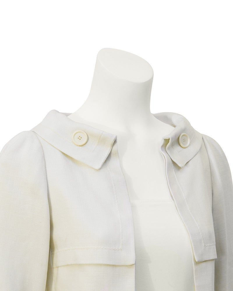 1963 Christian Dior Haute Couture Cream Linen Jacket and Skirt In Good Condition For Sale In Toronto, CA