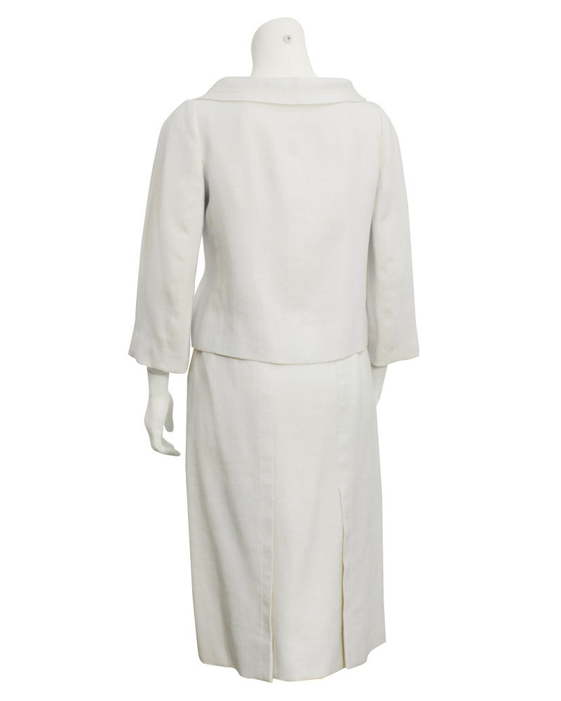 Gray 1963 Christian Dior Haute Couture Cream Linen Jacket and Skirt For Sale
