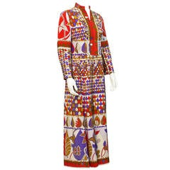 1960's Silk Printed Tunic Style Gown