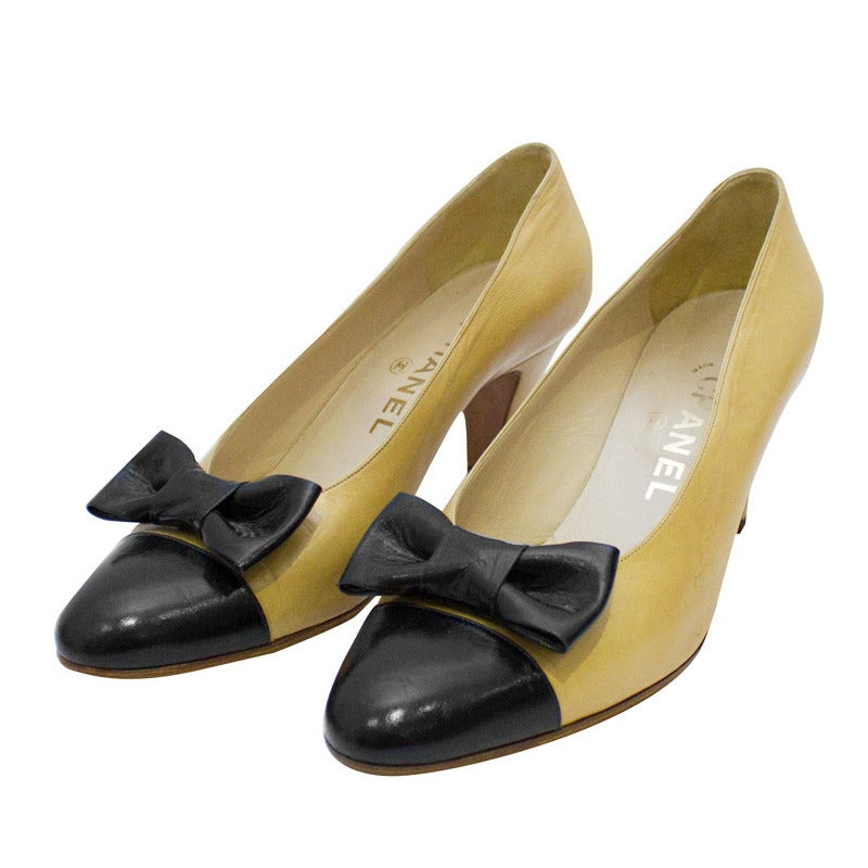 1980's Chanel Beige Leather Pumps with Black Toe Cap & Bow