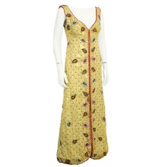 1970's Maggie Reeves Gold Gown with Paisley Beading
